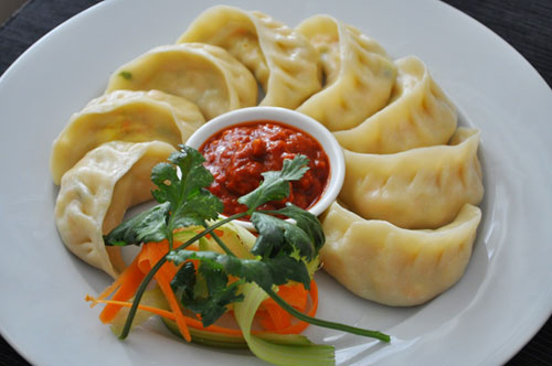 Momos and hot sauce in Tibet