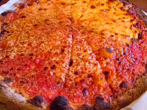 Tomato pie, from Modern Apizza  in New Haven, Connnecticut