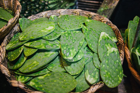 Nopales, or cactus, in La Merced market in Mexico City