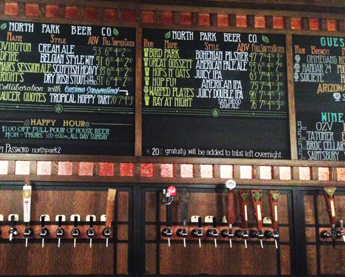 Beer menu at North Park Beer Co. in San Diego, California