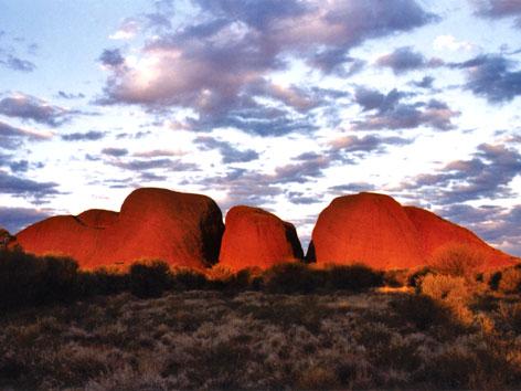 Kata Tjuta, or the Olgas, at sunset in Australia