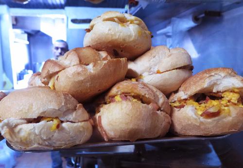 Sandwiches with eggs and ham (ovos e presunto) in Porto, Portugal