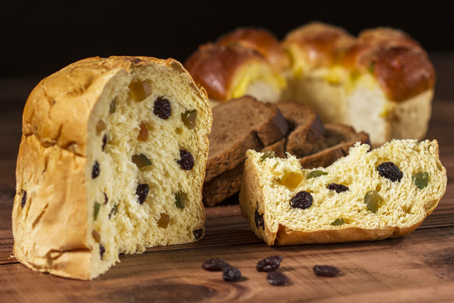 A traditional Christmastime panettone sweet bread loaf, from Italy