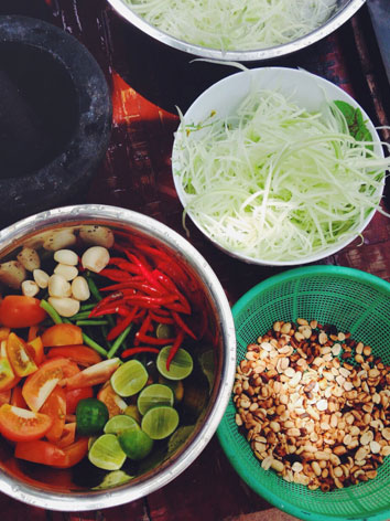 Ingredients for som tam, Thai papaya salad