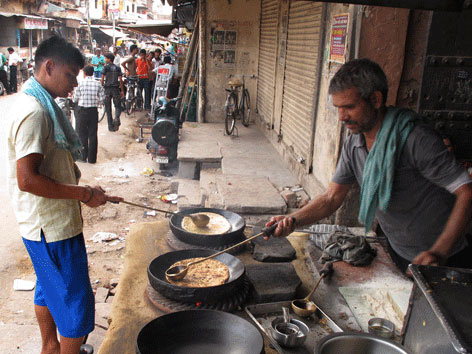Cooking parathas in Agra, India