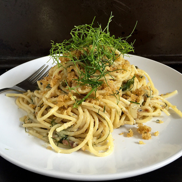 Pasta con le sarde, a traditional Christmastime pasta dish with sardines in Sicily, Italy