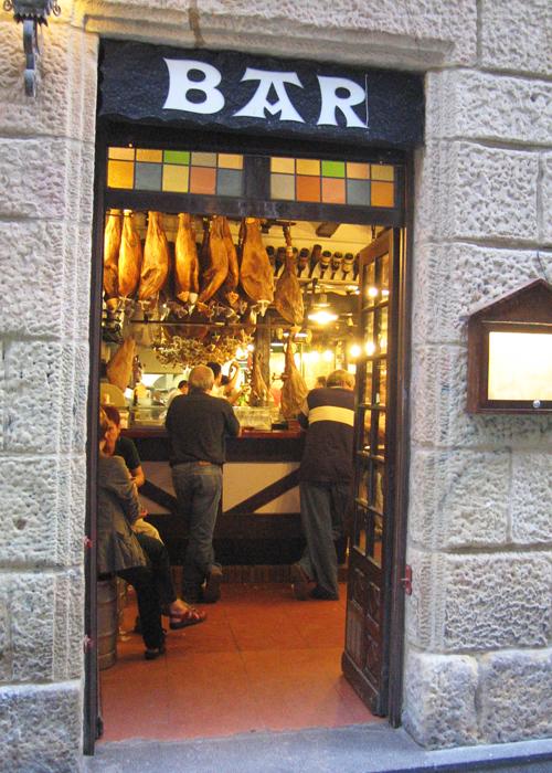 Entrance to a pintxos bar in San Sebastian, Spain, Basque Country