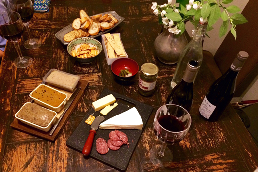 Charcuterie spread for a happy-hour playdate, with meats from Les Trois Petits Cochons