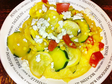 Polenta and summer squash with feta cheese