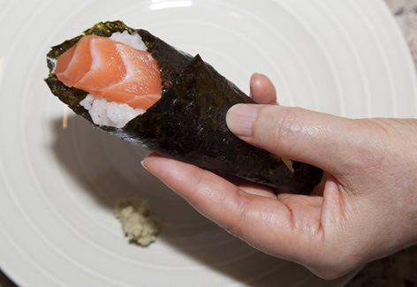 Temai or homemade rolled sushi with recipe