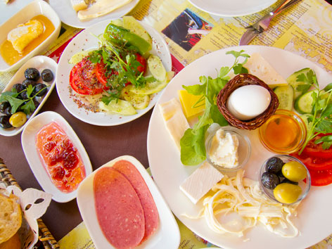 Turkish breakfast in Istanbul, Turkey