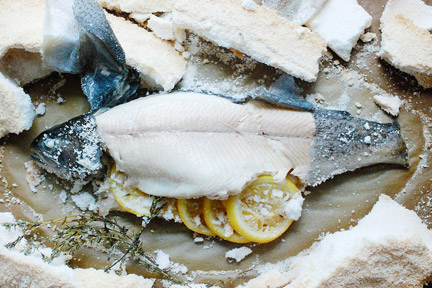 Salt crusted sea bass dish.