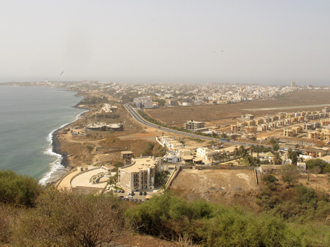 View of the Atlantic coastline and new construction in Dakar, Senegal, from the Mamelles lighthouse