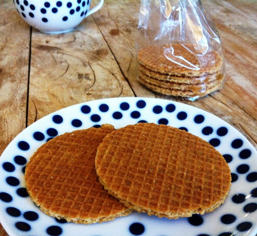 Stroopwafel on a plate from the Netherlands