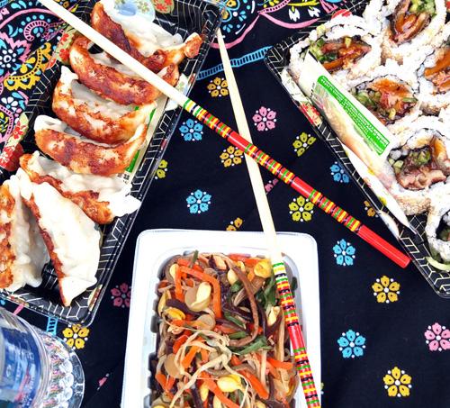 Japanese dumplings, sushi and salad from Super Mira, Japantown, San Francisco