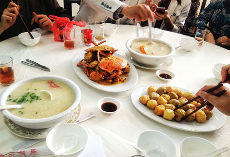 Congee and crab dish from Seng Cheong, Macau