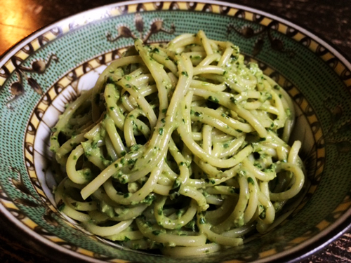 Tallarines verde, Peruvian green noodles, kind of like pesto!