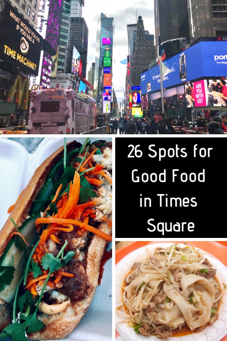 Pinterest image for 26 spots to eat well in Times Square