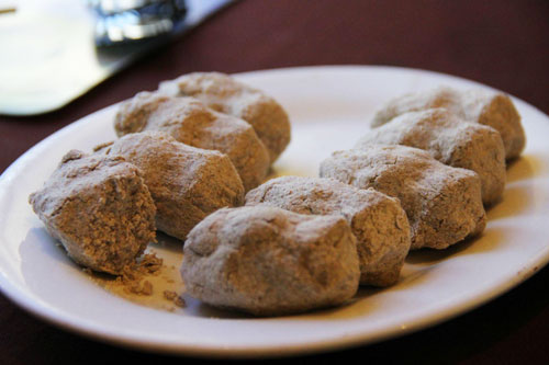 Little doughy balls of roasted barley flour and butter tea called tsampa, an essential part of Tibetan cuisine