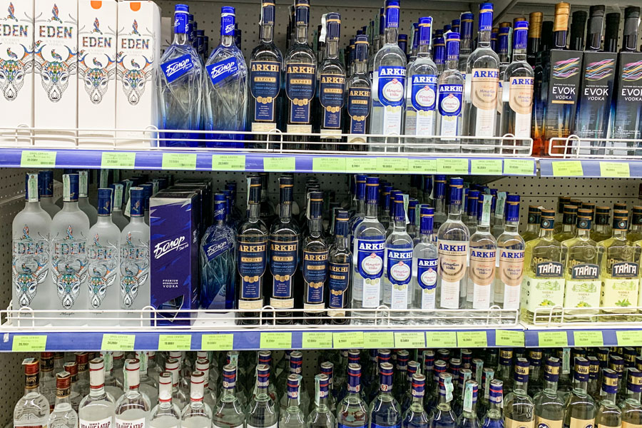 Vodka lines the shelves of a store in Ulaanbaatar, Mongolia.