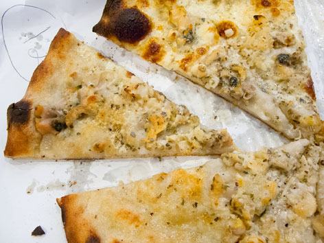 White clam pizza from New Haven, Connecticut
