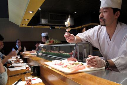 Serving Yakitori at Tori Shin in New York.