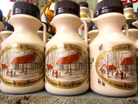Bottles of pure Canadian maple syrup from Le Marche des Saveurs du Quebec in Montreal