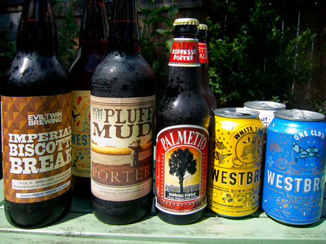 Bottles of local beer from Charleston, South Carolina