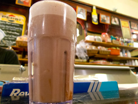 An egg cream at Eisenberg's Sandwich Shop in New York City