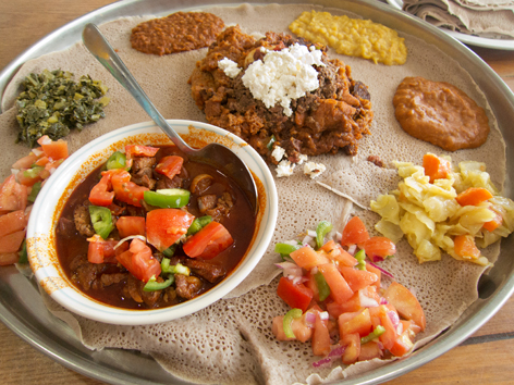 A platter of Ethiopian food in Washington D.C.