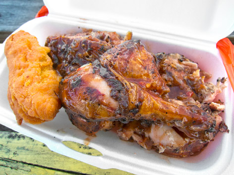 Jerk chicken and festival fritters from Antigua