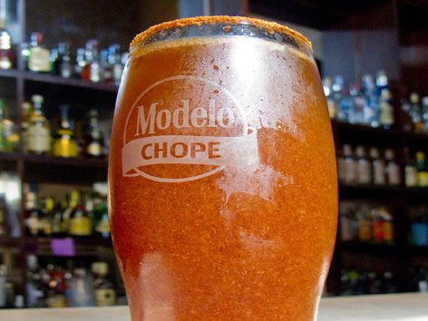 A michelada from La Farola in Oaxaca, Mexico.