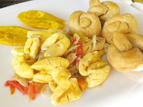 Ackee and saltfish in Port Antonio, Jamaica
