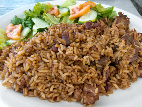 Seasoned rice from Russell's in Antigua