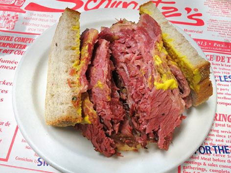 Smoked meat sandwich from Schwartz's in Montreal, Canada.
