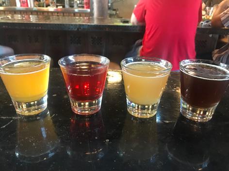 A tasting flight of local Utah beer at Strap Tank Brewery in the Utah Valley.