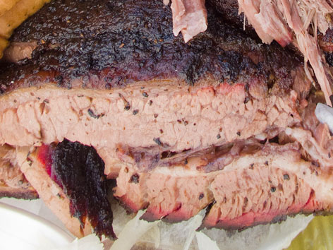 Smoked beef brisket from Franklin Barbecue in Austin, Texas.