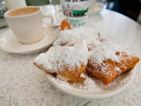 Beignets and café au lait at Café du Monde in New Orleans.