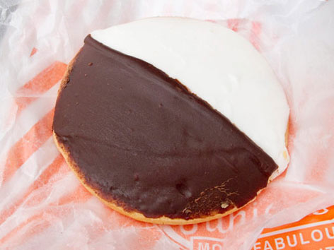 Black and white cookie from Juniors in Brooklyn, New York.