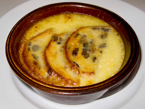 Bread and butter pudding from the Albion Cafe in London, England.