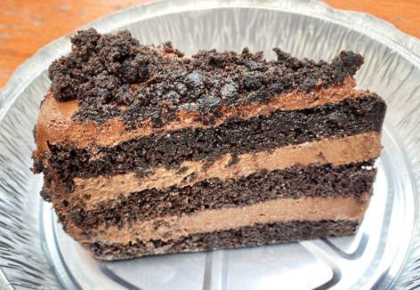 A slice of Brooklyn blackout cake from a NYC restaurant.