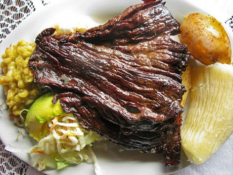 A plate of carne oreada from Restaurante La Brasa Misifu in Barichara, Colombia.