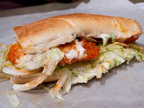 A chicken finger sandwich from Jim's Steakout in Buffalo, New York.