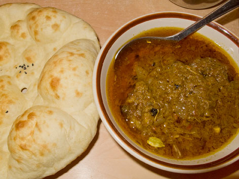 Chicken ishtu and tandoori roti from Purani Dilli in Delhi, India.
