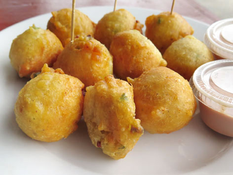 Conch fritters from the Fish Fry in the Bahamas