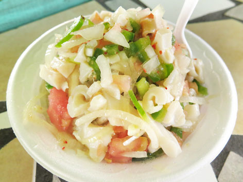 Conch salad from Potters Cay near Nassau, the Bahamas
