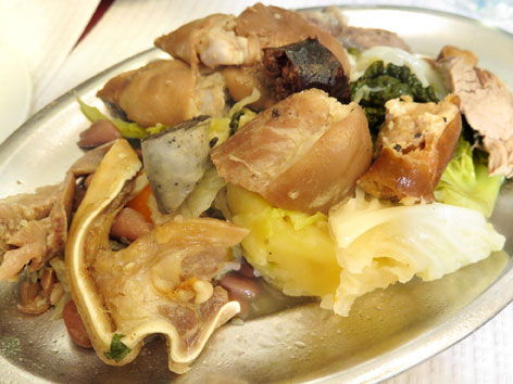 The traditional cozido à Portuguesa, a plate of boiled meats and sausages, from a Lisbon tasca.