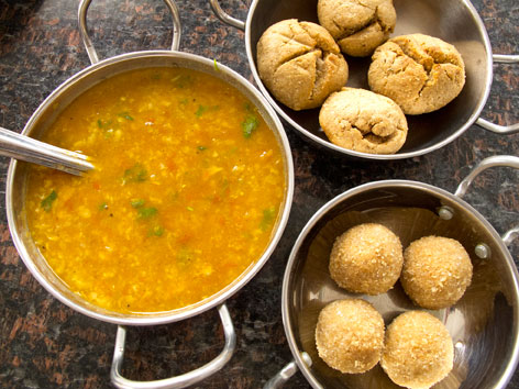 A beautiful preparation of dal baati chorma from Hotel Krishna Niwas in Udaipur, India.