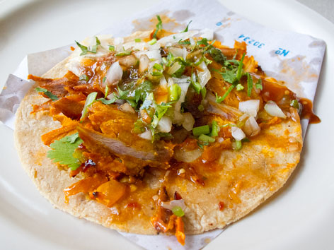 Taco al pastor from El Tizoncito in Mexico City.