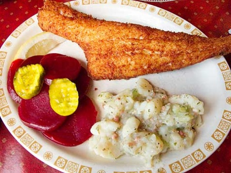 A fish fry of haddock from Schwabl's in Buffalo, New York.